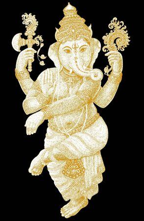 Ganesha graphic art on black background photo