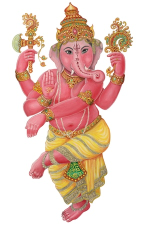 Ganesha Painting on white background photo