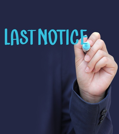 Hand written LASTNOTICE photo