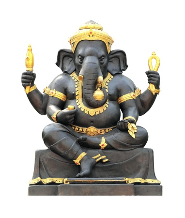 hindu god: Ganesh Statue on white background with Clipping Part