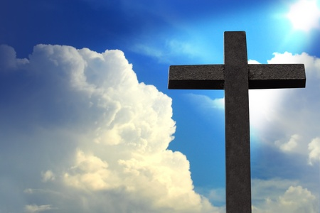 christian symbol: Cross against blue sky