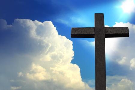 holy cross: Cross against blue sky