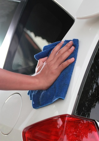 Hand are Cleaning car photo