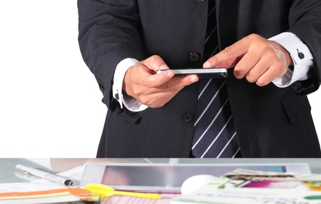 Businessman are using smart phone photo