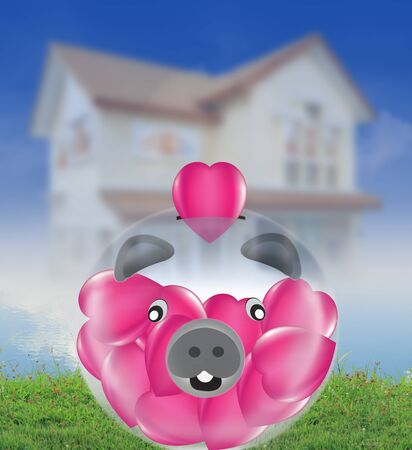 Pig keep the heart savings and home photo