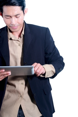 Man is using a digital tablet Stock Photo - 14192578