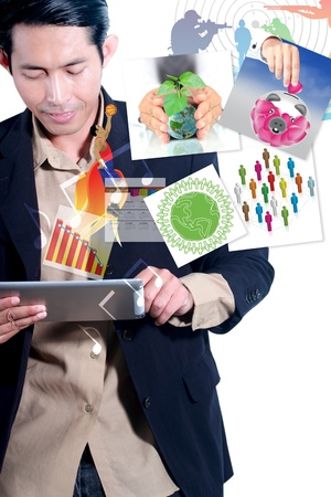 Man is using a digital tablet Stock Photo - 14192579