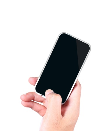 Hand holding a smartphone on a white background