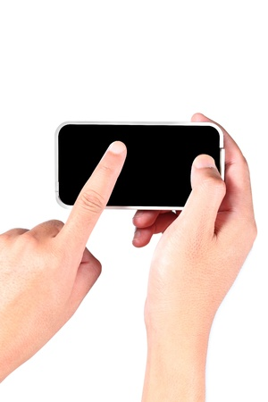 Hand touching smart phone on a white background Stock Photo - 14295295