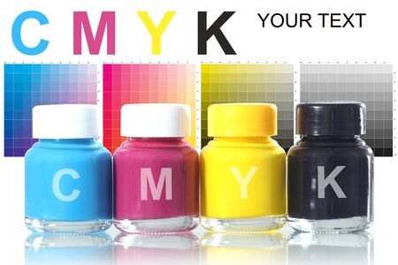 bottles of ink in cmyk colors Stock Photo - 14326282