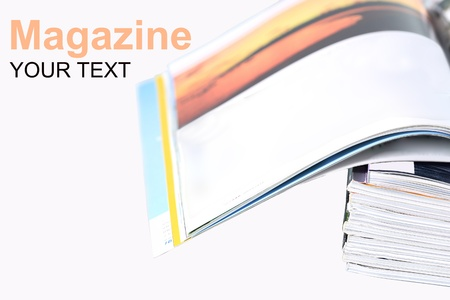 Pile of magazine on a white background photo
