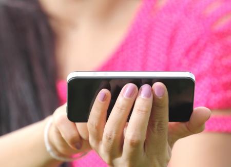 Women Hand are using smartphone Stock Photo