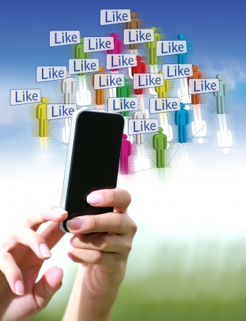 Hand using smart phone with illustrations  Social Network Stock Illustration - 14577615
