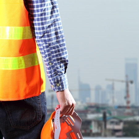 Cropped view of Construction worker photo
