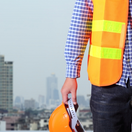 building safety: Cropped view of Construction worker Stock Photo