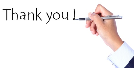 Business hand, writing thank you photo
