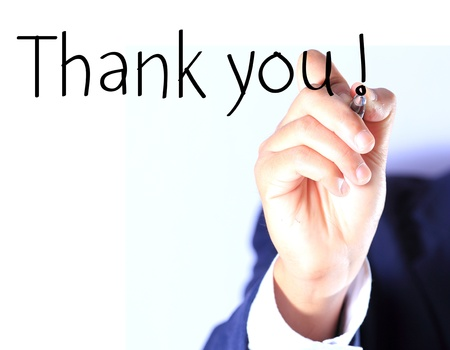 presentation background: Business hand, writing thank you