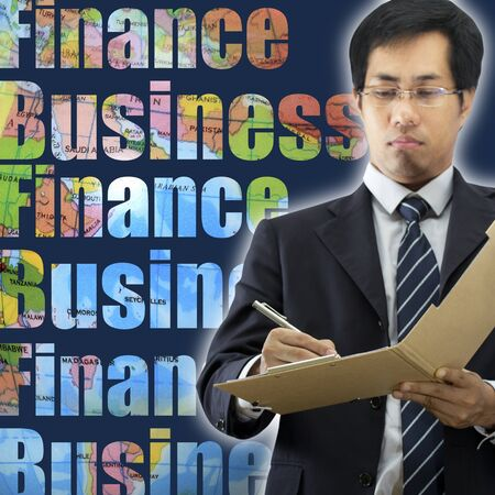 undersign: Businessman signing a document Stock Photo