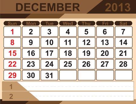 Vector calendar DECEMBER 2013 Stock Vector - 16255328