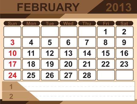 Vector calendar FEBRUARY 2013 Stock Vector - 16255313