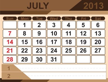 Vector calendar JULY 2013 Stock Vector - 16255318