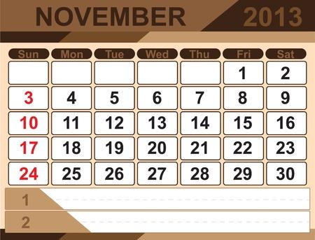 Vector calendar NOVEMBER 2013 Stock Vector - 16255323