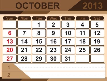 Vector calendar OCTOBER 2013 Stock Vector - 16255327