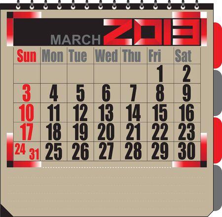 Vector calendar APRIL 2013 Stock Vector - 16255334