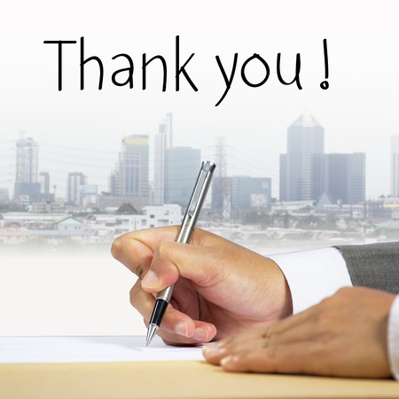 Business hand writing, thank you photo