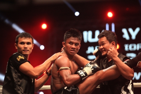 BANGKOK, THAILAND- DECEMBER 16 : Buakaw Por. Pramuk (Thailand) in THAI FIGHT 2012, 70 KG. ( Final Round ) on December 16, 2012 at King Chulalongkorn Monument Square, Bangkok, Thailand