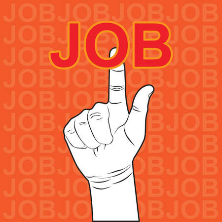 Hand touching JOB Stock Vector - 17083197