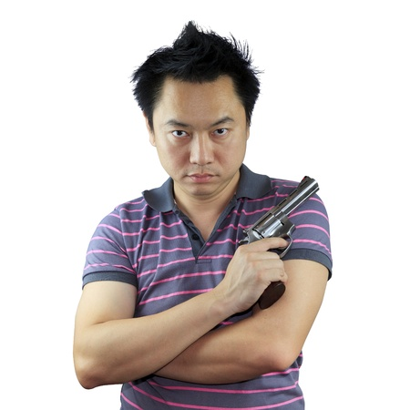 Man holding gun on white background Stock Photo - 17381261