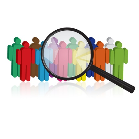 executive search: Magnifying glass Search for people Stock Photo