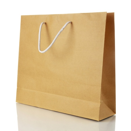 brown paper bags: Paper shopping bag on white background