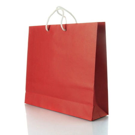 shopping bag icon: Paper shopping bag on white background