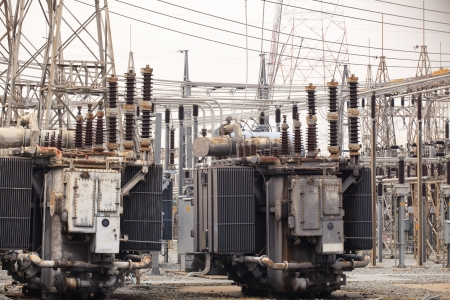 transformator:  Electrical power transformer in high voltage substation