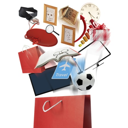 Red shopping bag and wide variety of products photo