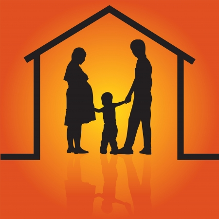 Silhouettes of Happy family and home concept with parents and son photo