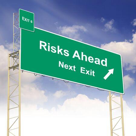 risks ahead: Concepto Se�al de tr�fico con el texto Riesgos cielo azul por delante y