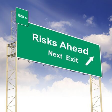 risks ahead: Road sign concept with the text Risks Ahead and blue sky
