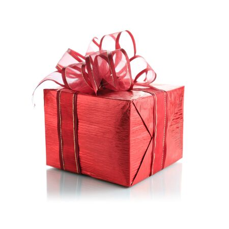 red gift box: Red gift box on a white background