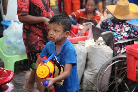 BANGKOK, THAILAND - APRIL 13: Unidentified Thai and International people enjoy in