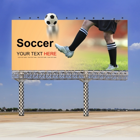 Soccer field, Soccer player on outdoor billboard