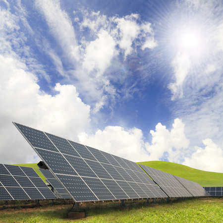 alternative energy source: Solar energy plants and blue sky  Stock Photo