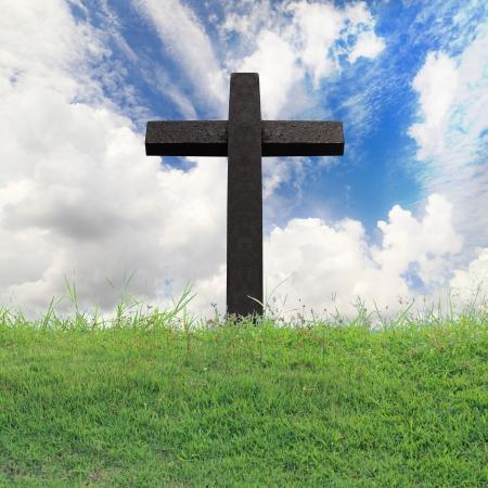 cross light: Cross against on blue sky