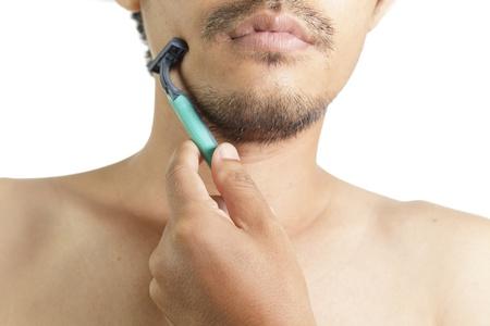 appendage: Close up of man shaving  Stock Photo