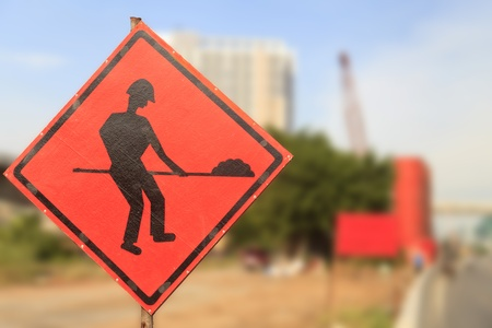redirection: Road signs in a street under reconstruction