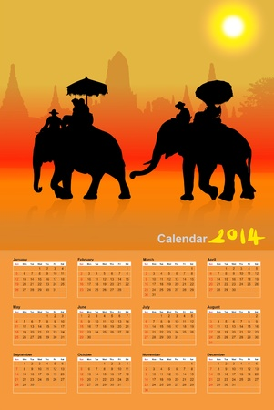 Elephant Tourist at sunset in ayuttaya, thailand, Calendar 2014 photo