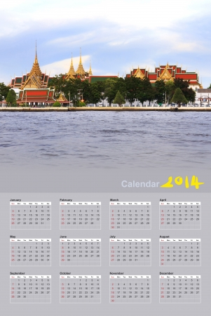 Wat Phra Kaew Royal Palace in Bangkok, Thailand, Calendar 2014 photo