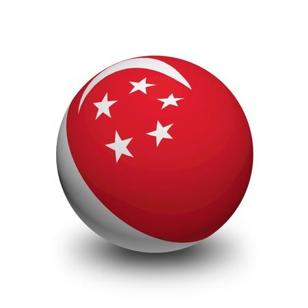 singaporean flag: 3D Ball with Flag of Singapore Editorial